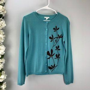 Garnet Hill Blue Wool Floral Cardigan